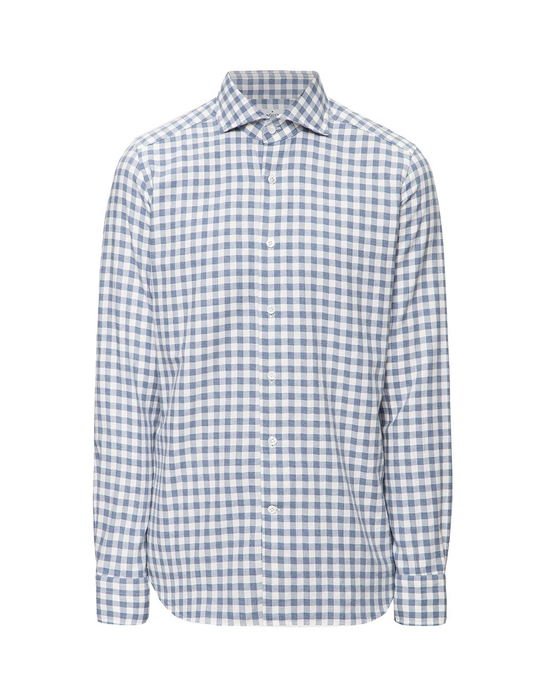 Мужская белая рубашка в клетку Bagutta S09558.250-1