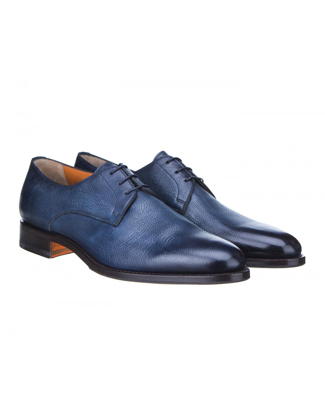 Туфли синие мужские Santoni S14303-2