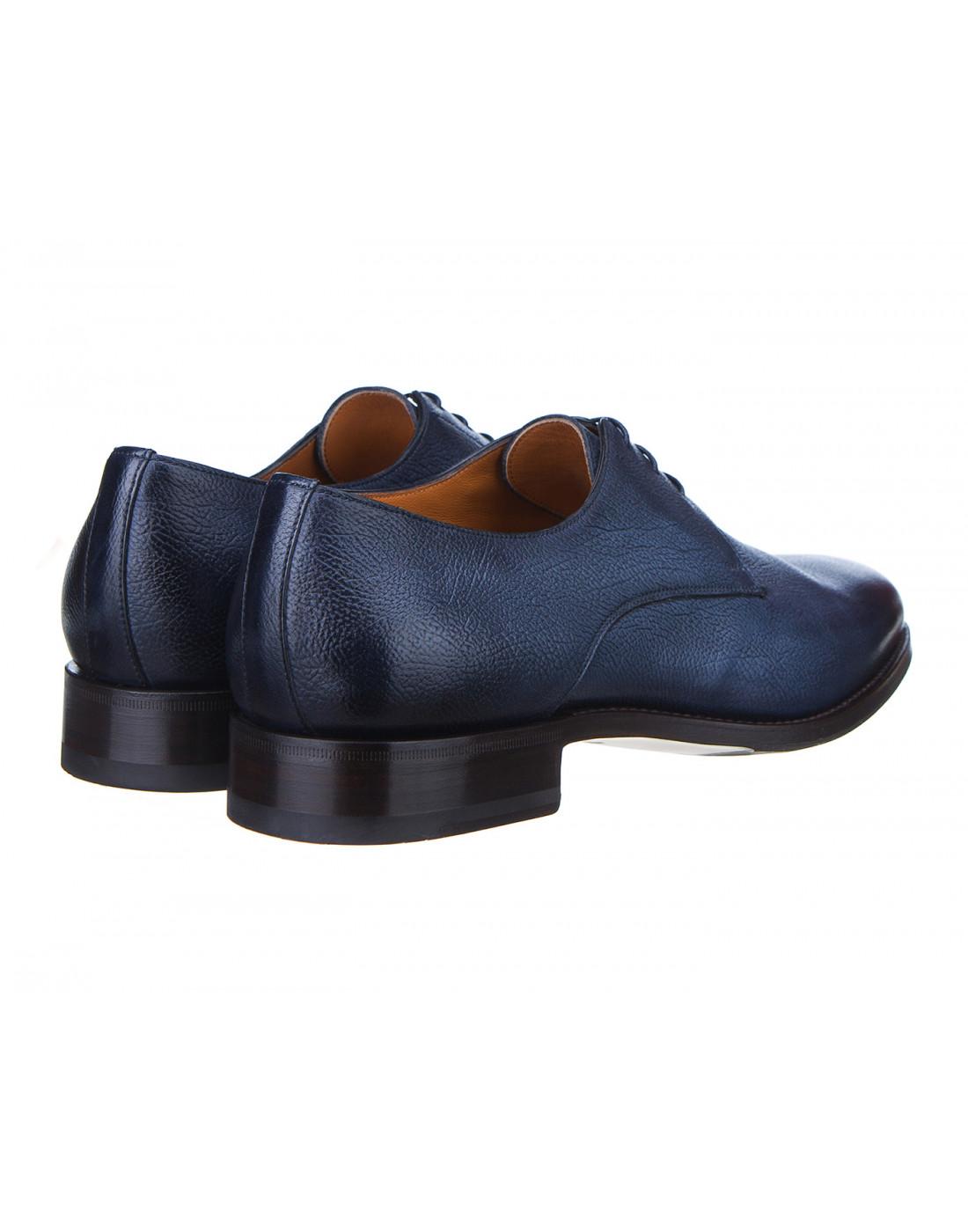 Туфли синие мужские Santoni S14303-3