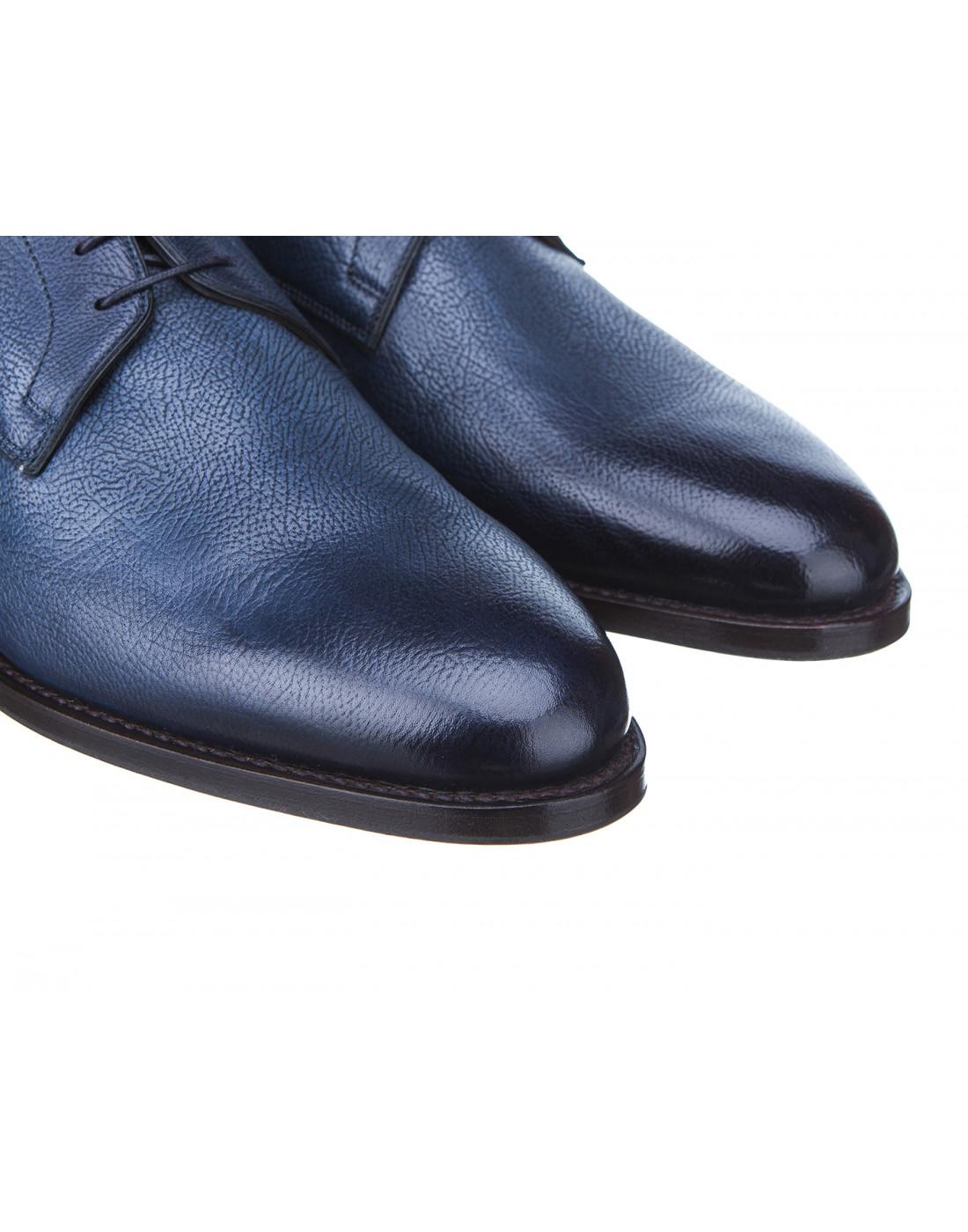 Туфли синие мужские Santoni S14303-4