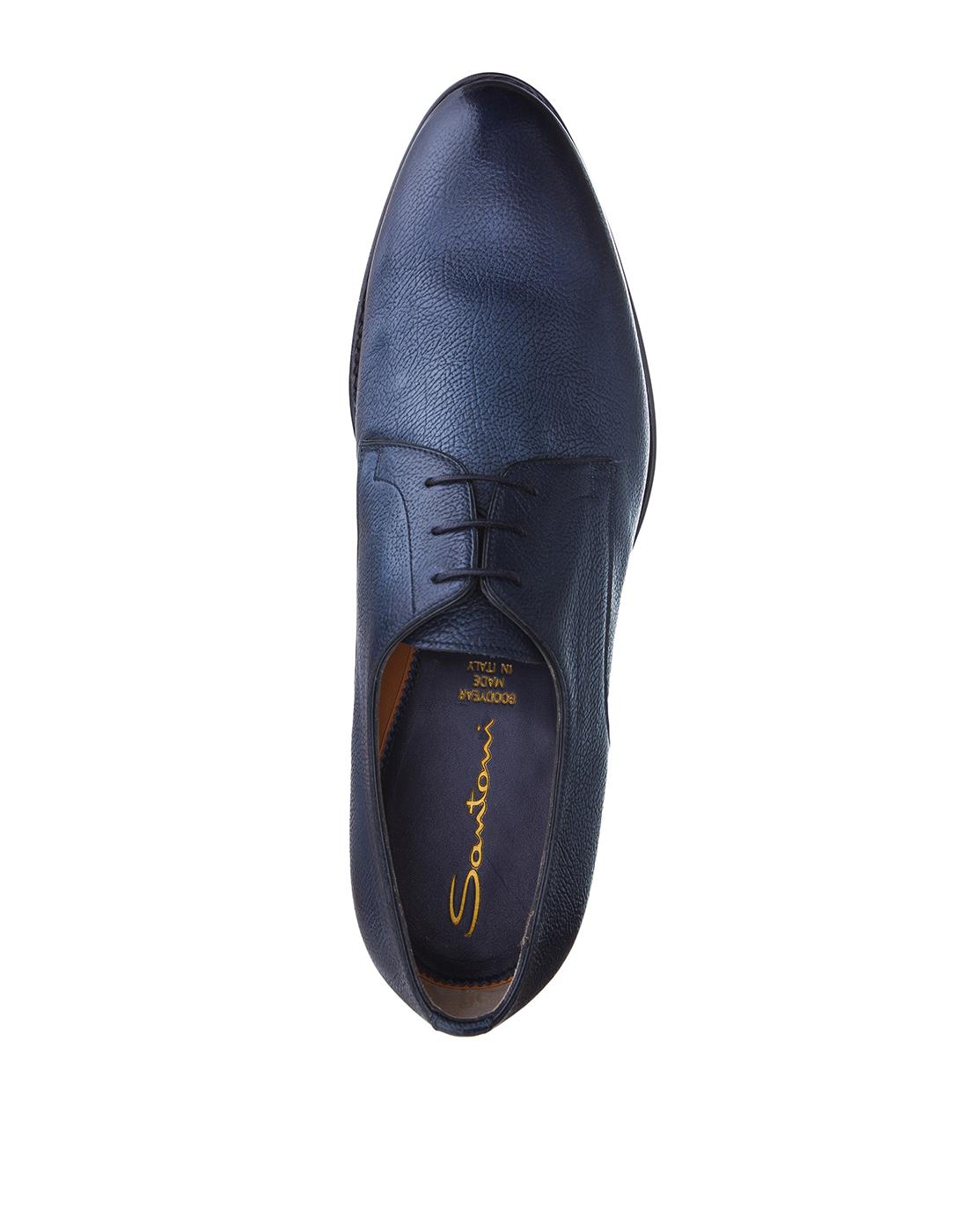 Туфли синие мужские Santoni S14303-5