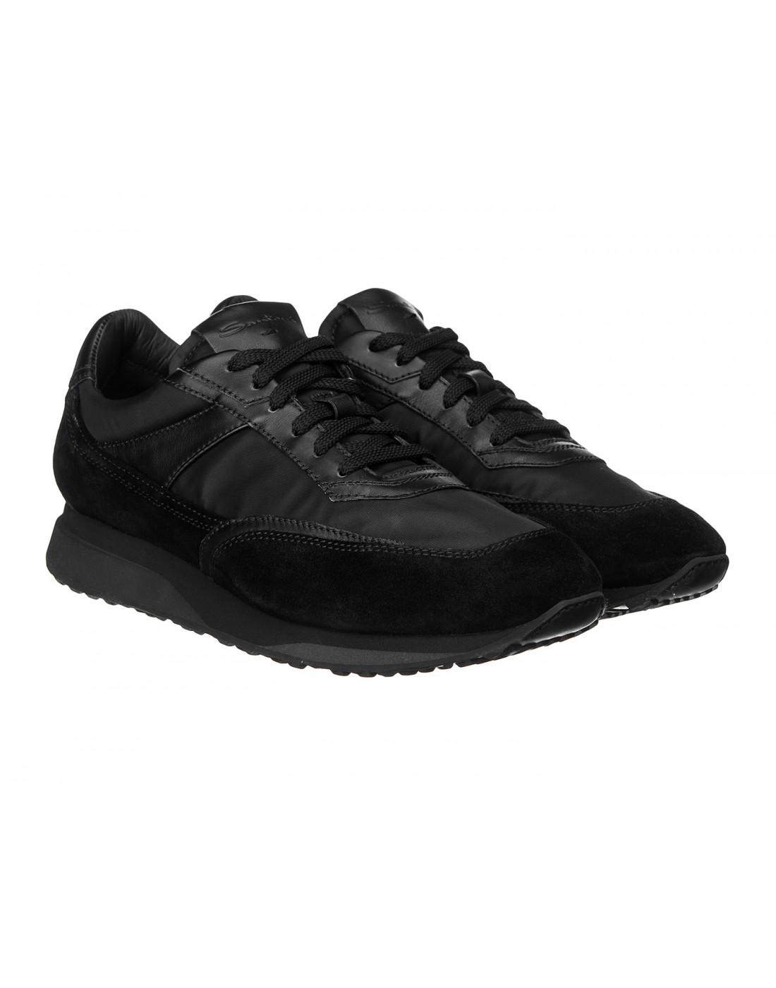 Кроссовки черные мужские Santoni S20840-2