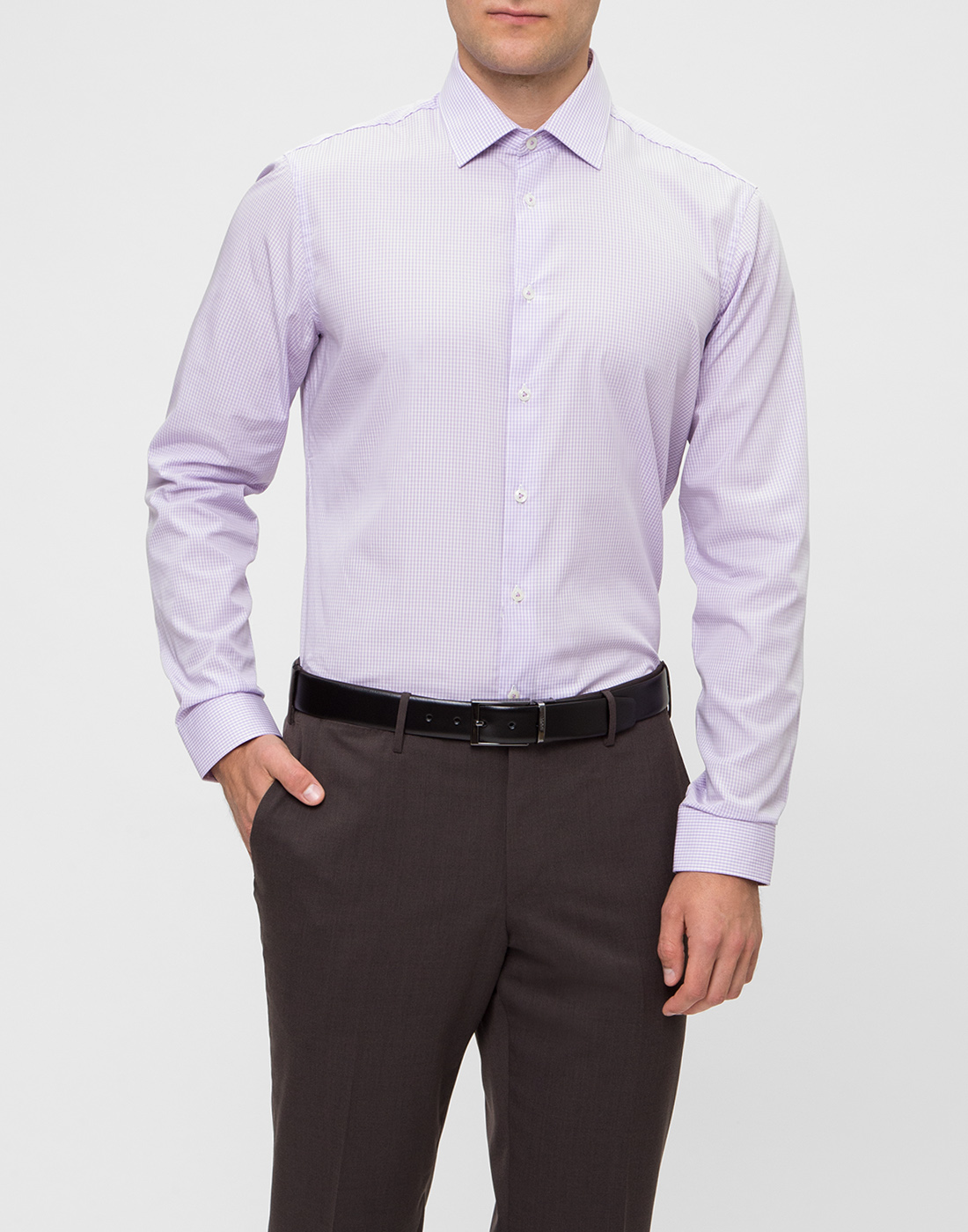 Мужская сиреневая рубашка в клетку Van Laack S151438/620-2
