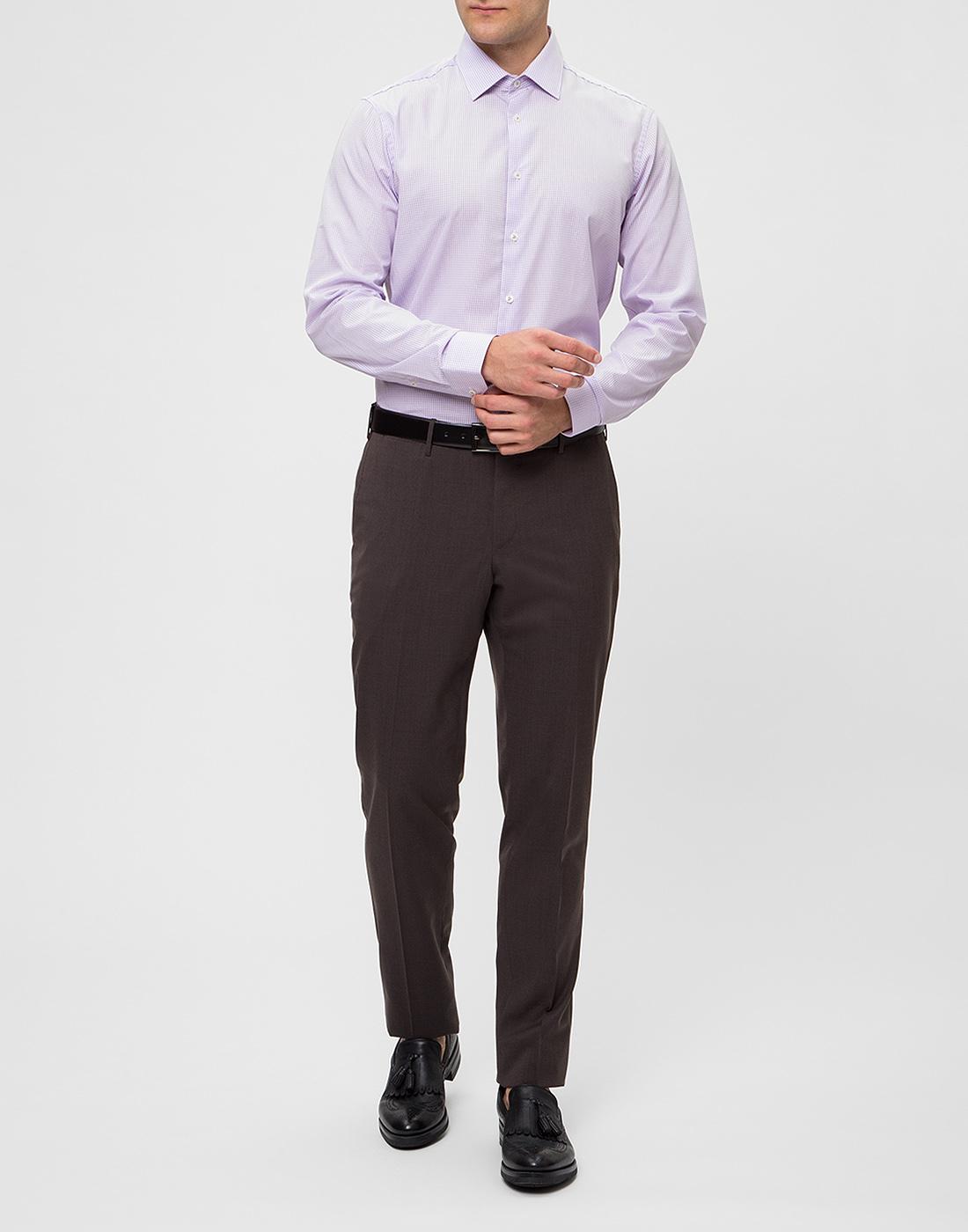 Мужская сиреневая рубашка в клетку Van Laack S151438/620-5