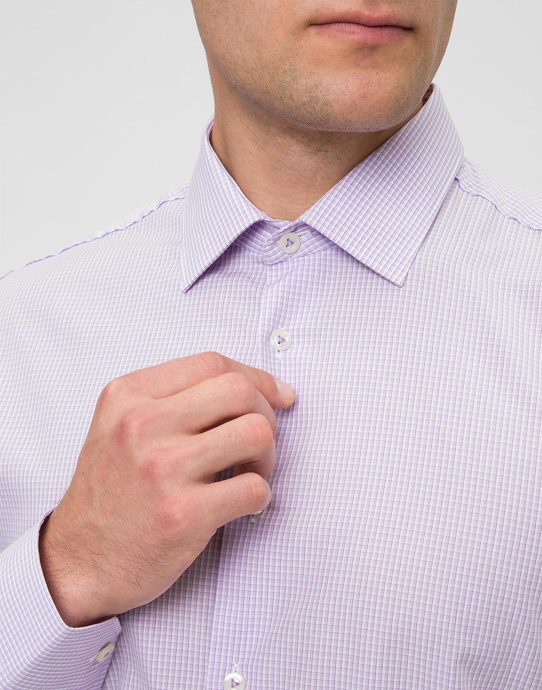 Мужская сиреневая рубашка в клетку Van Laack S151438/620-6