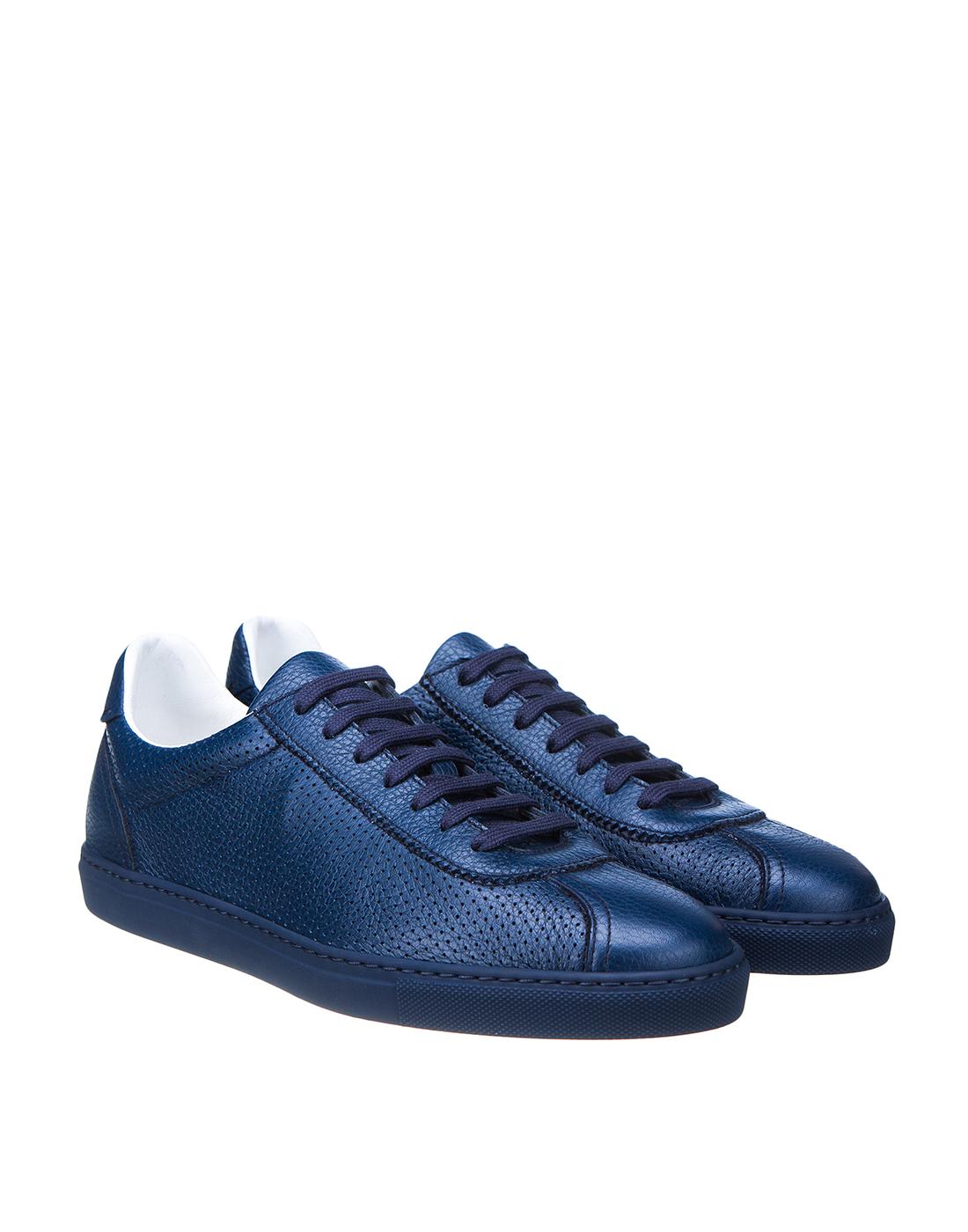 Кеды синие мужские перфорированные  Doucal's SDU2650MANAUZ109BB00-2