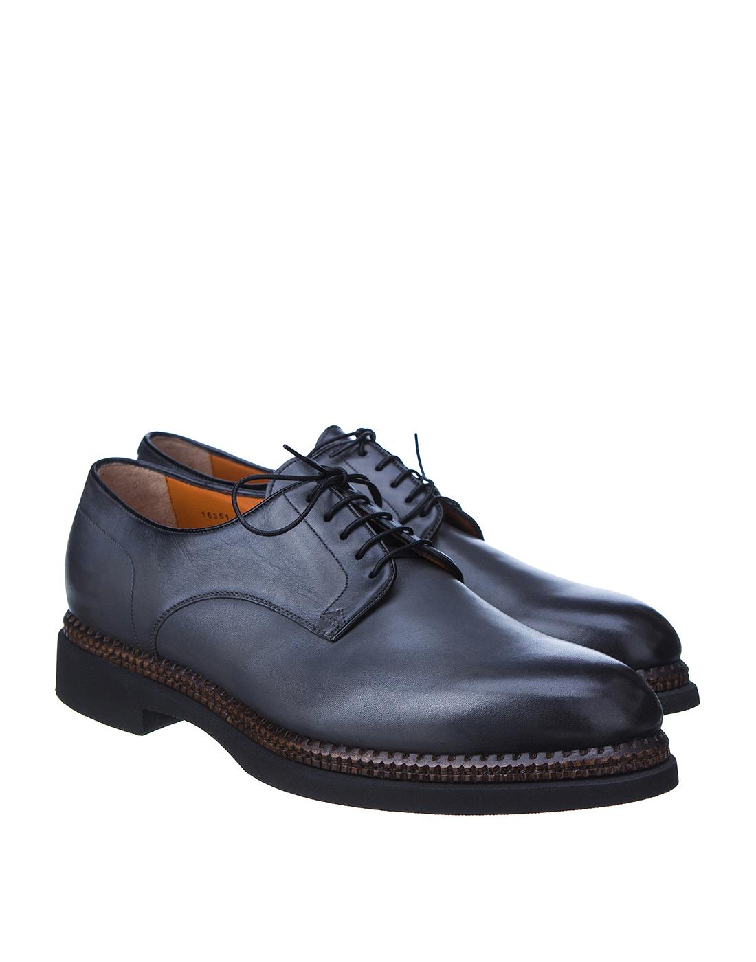 Туфли серые мужские Santoni S16351-2
