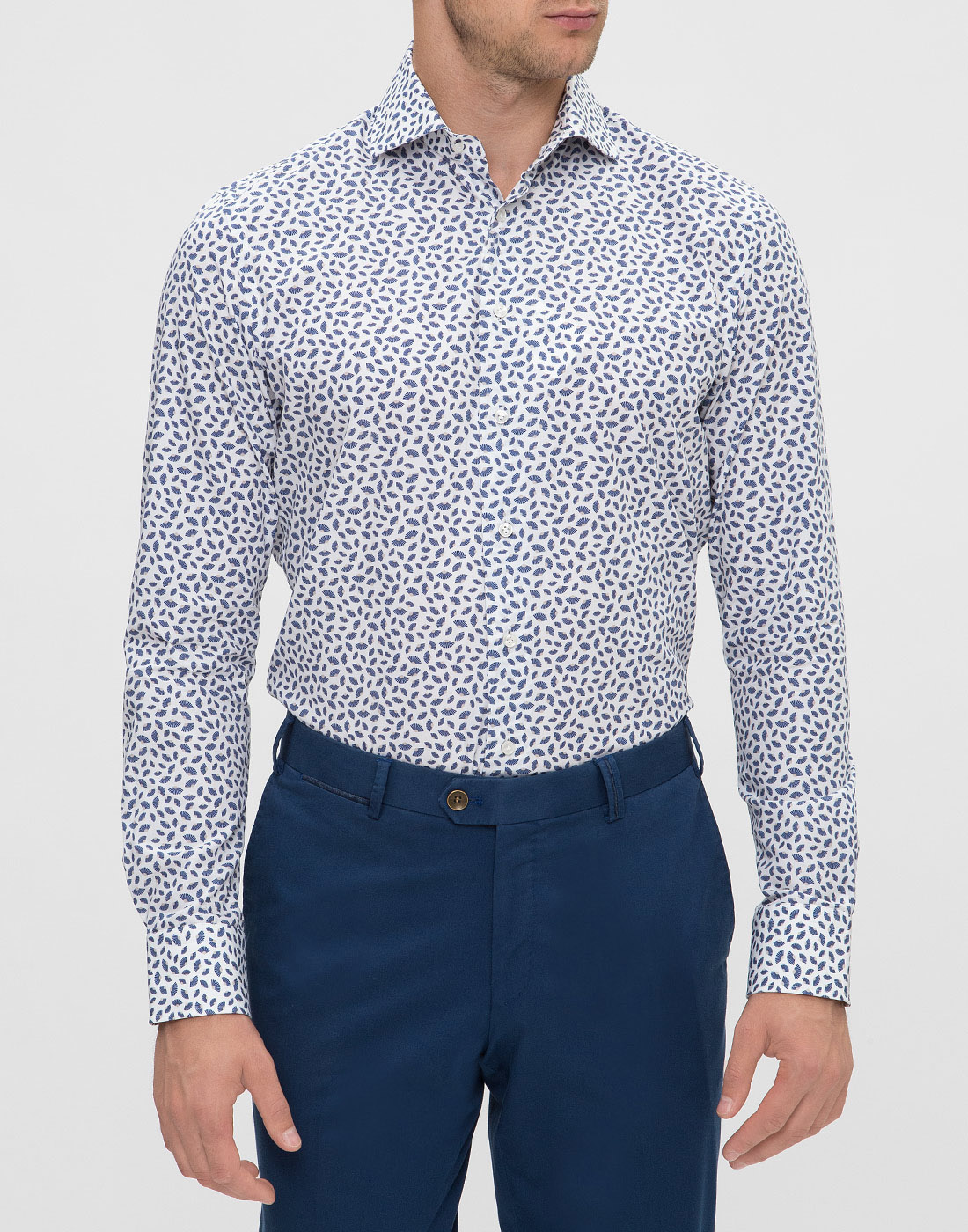 Мужская белая рубашка с принтом Profuomo SPPPH1C1077-2
