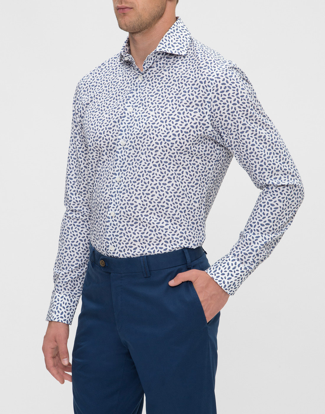 Мужская белая рубашка с принтом Profuomo SPPPH1C1077-3