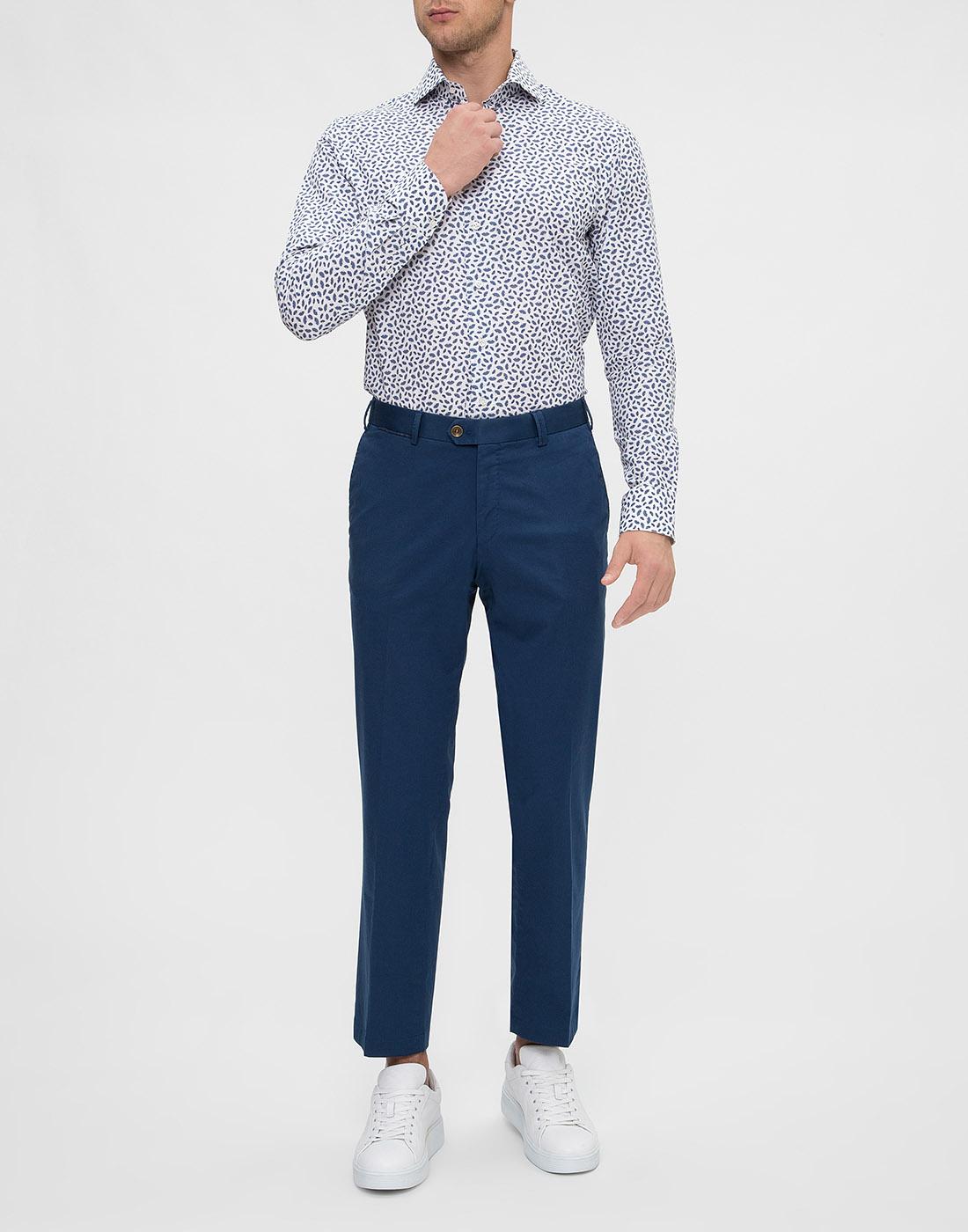 Мужская белая рубашка с принтом Profuomo SPPPH1C1077-5