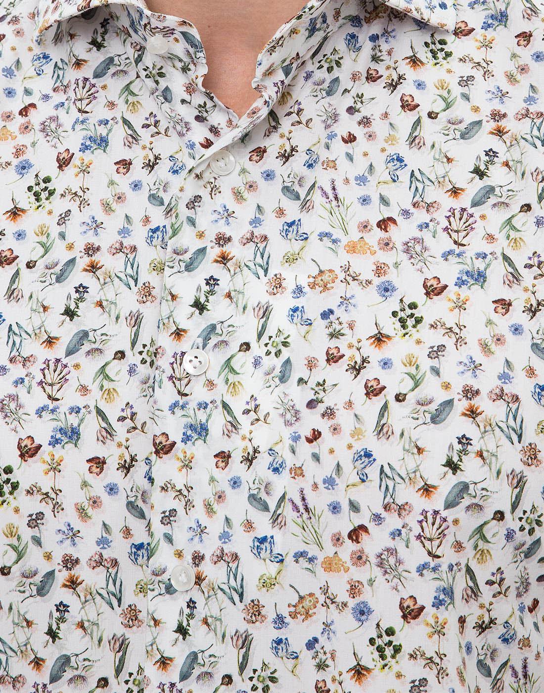 Мужская белая рубашка с принтом