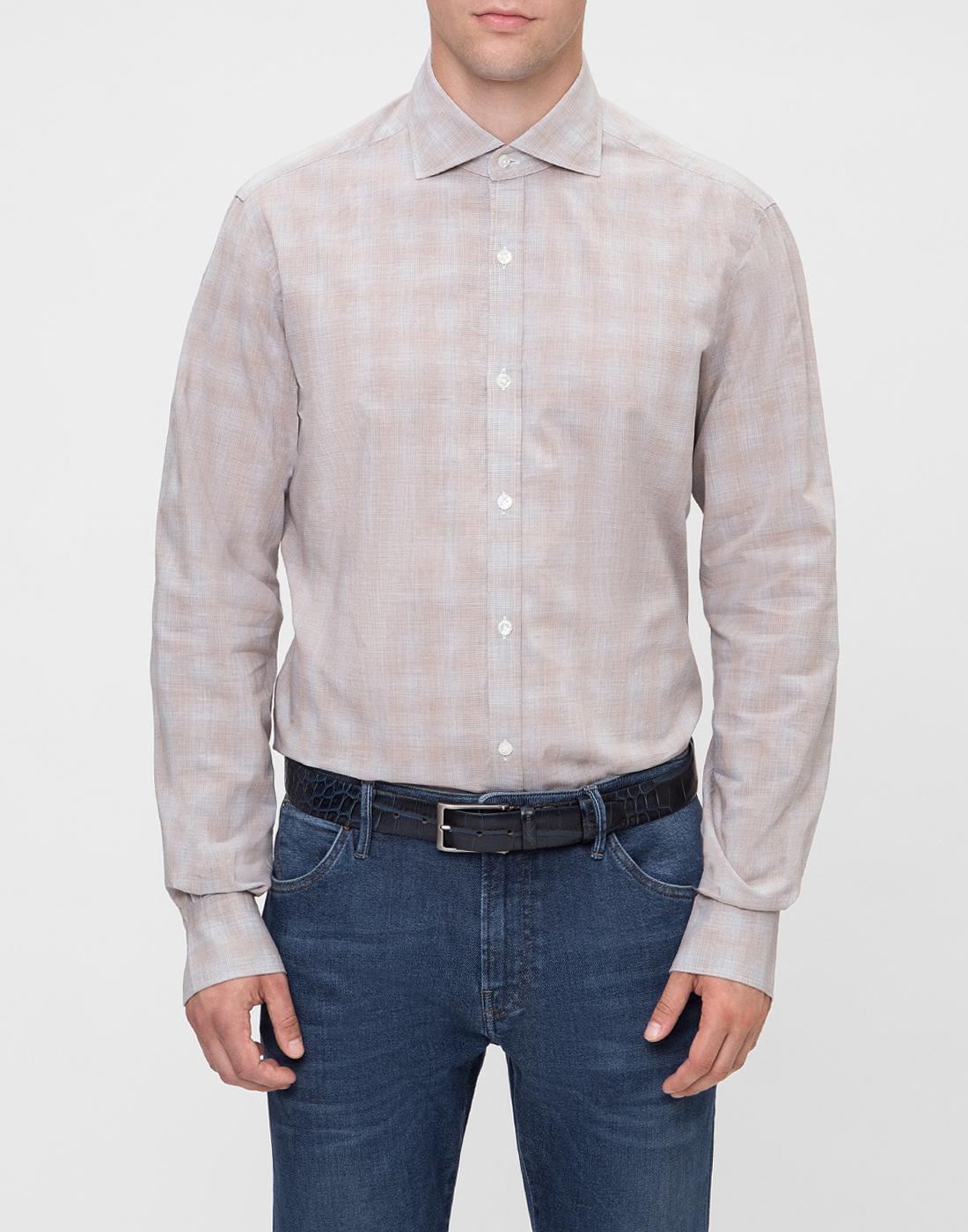 Мужская бежевая рубашка в клетку