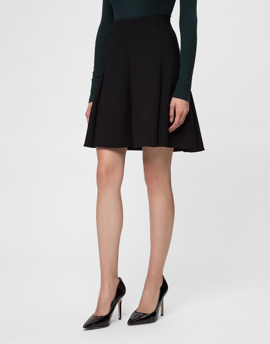 Женская черная шерстяная юбка