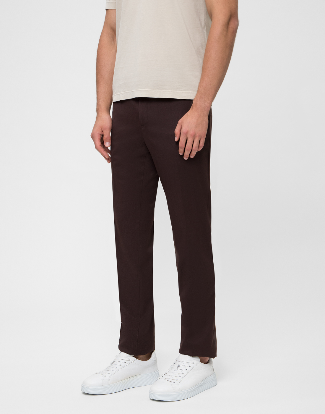 Мужские коричневые шерстяные брюки PT SIX17 0180-3