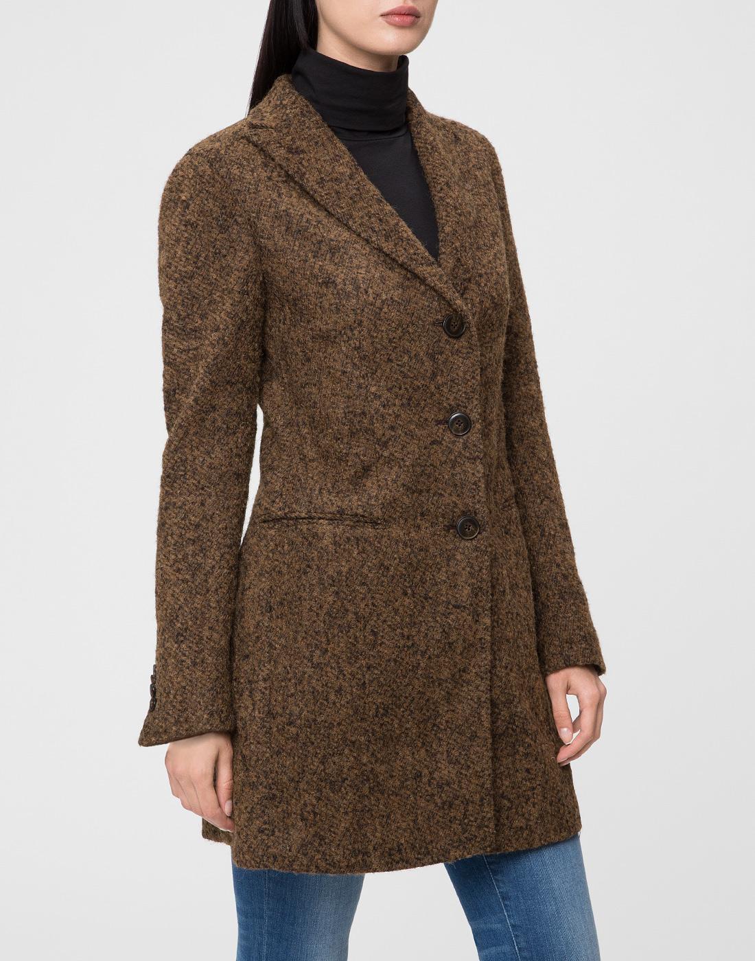 Женское коричневое пальто
