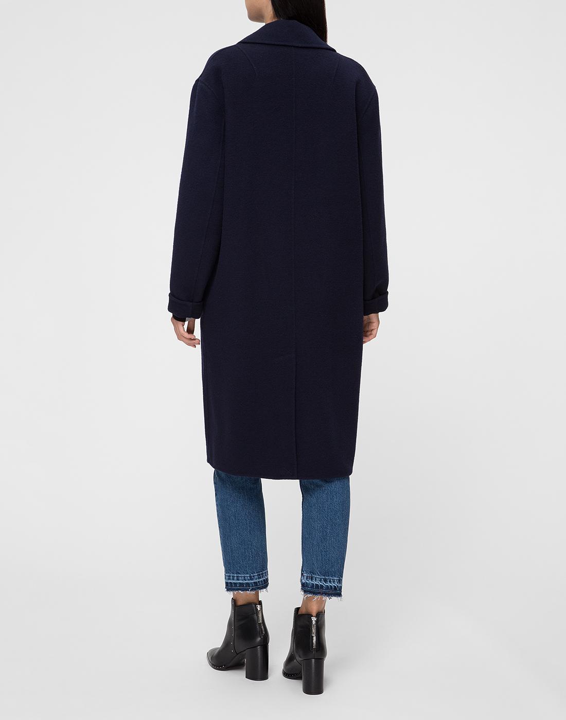 Женское темно-синее шерстяное пальто