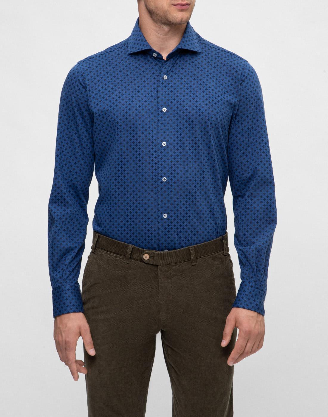 Мужская синяя рубашка с принтом Orian S02JS63 22-2