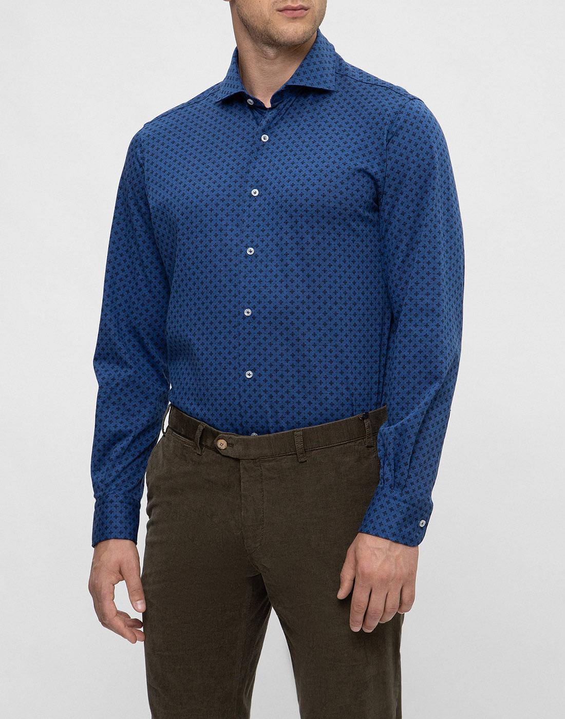 Мужская синяя рубашка с принтом Orian S02JS63 22-3