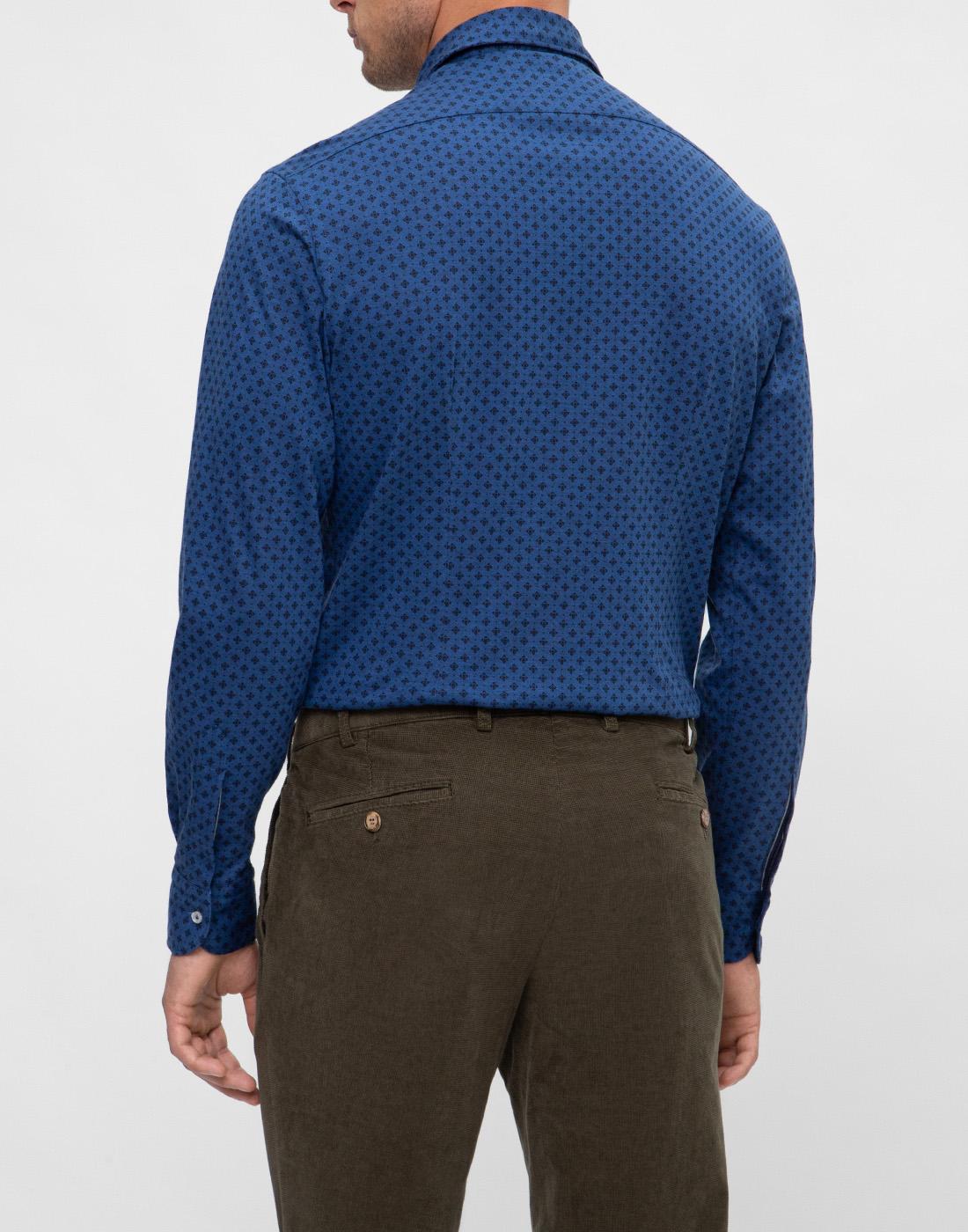Мужская синяя рубашка с принтом Orian S02JS63 22-4