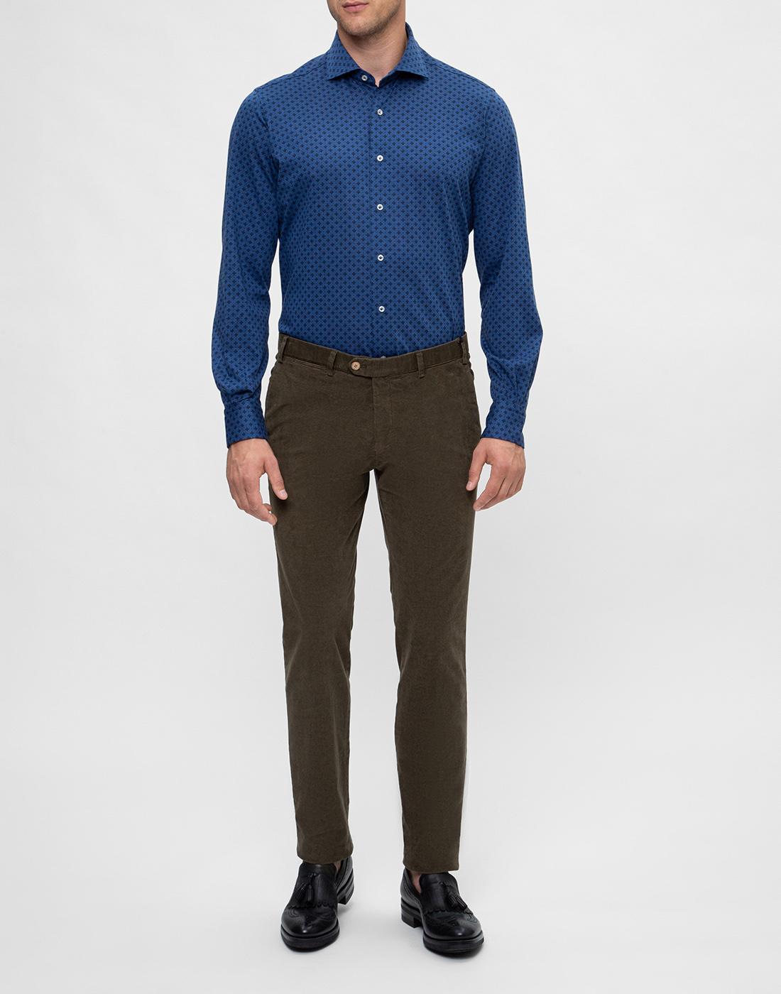 Мужская синяя рубашка с принтом Orian S02JS63 22-5