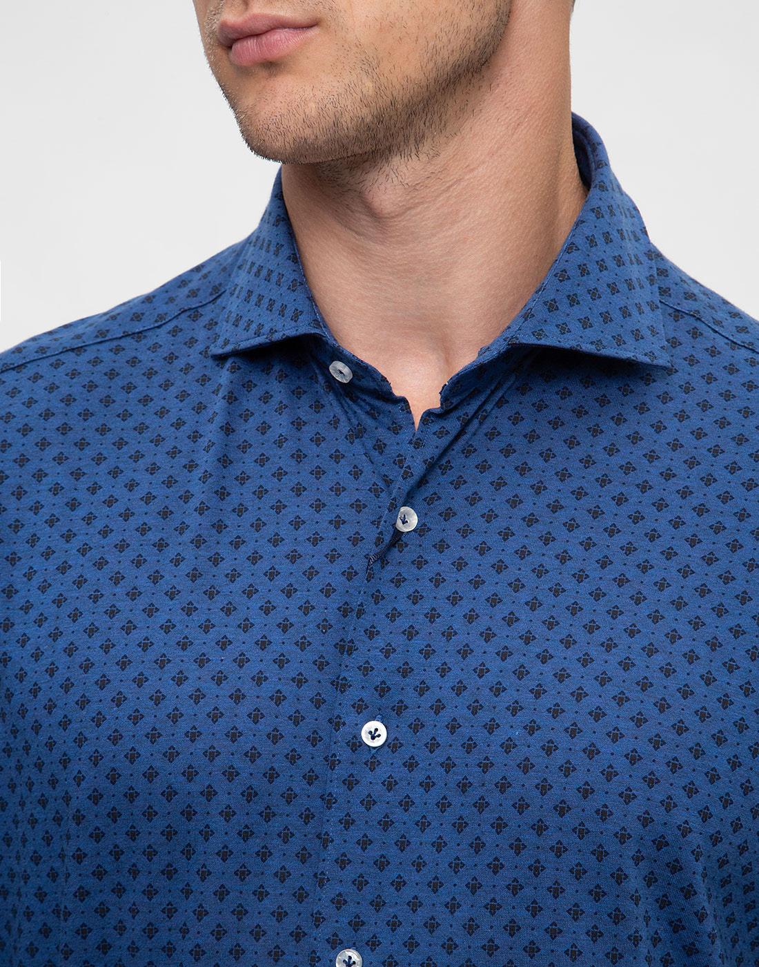 Мужская синяя рубашка с принтом Orian S02JS63 22-6