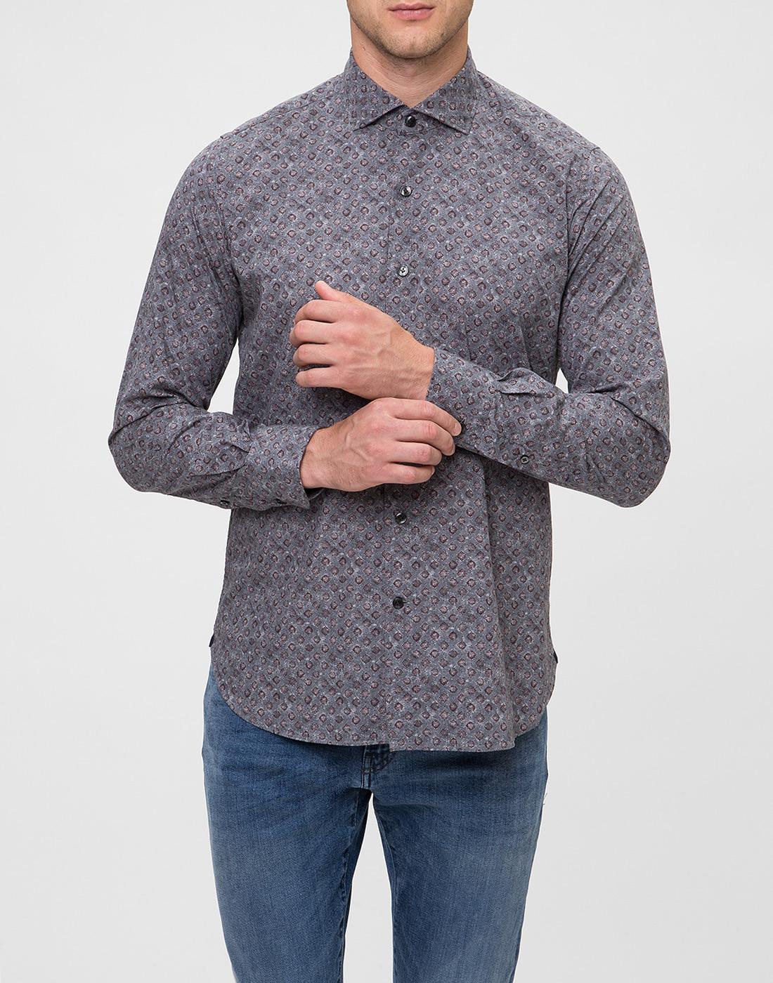 Мужская серая рубашка с принтом Orian S02P258 80-2