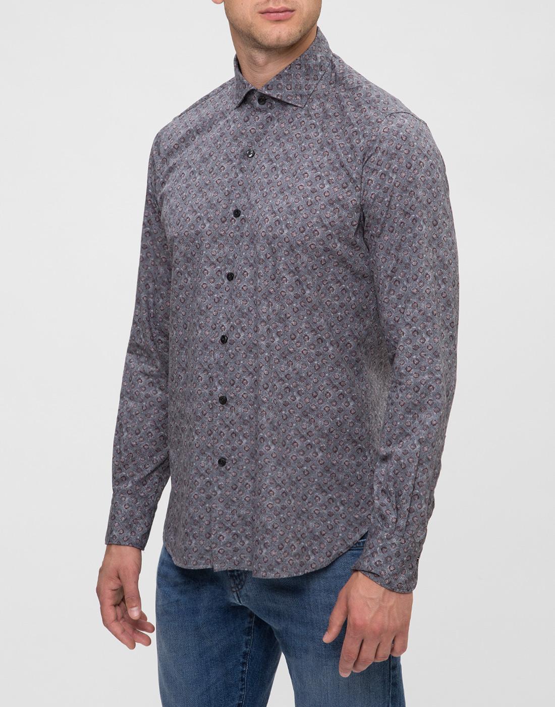 Мужская серая рубашка с принтом Orian S02P258 80-3
