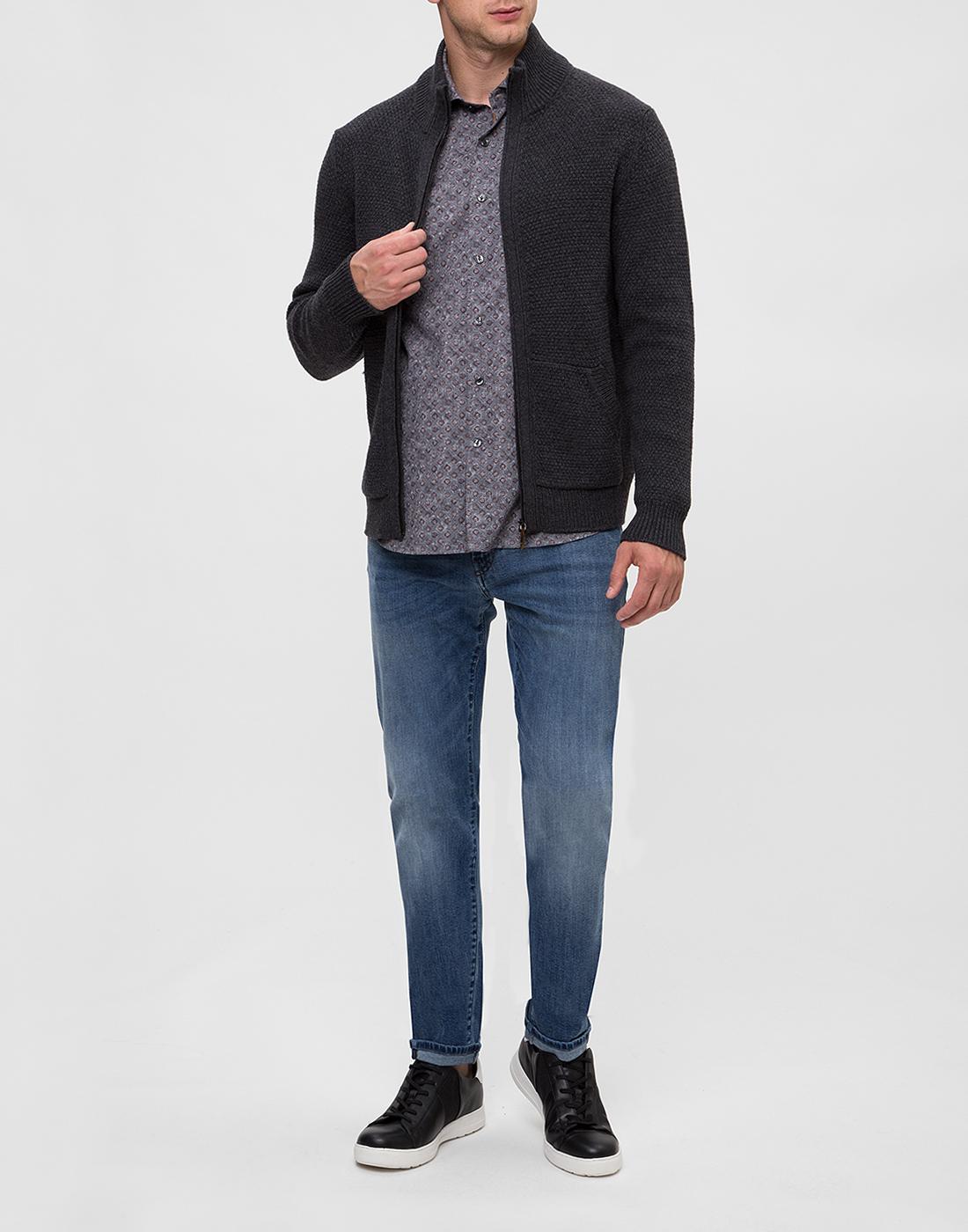 Мужская серая рубашка с принтом Orian S02P258 80-5