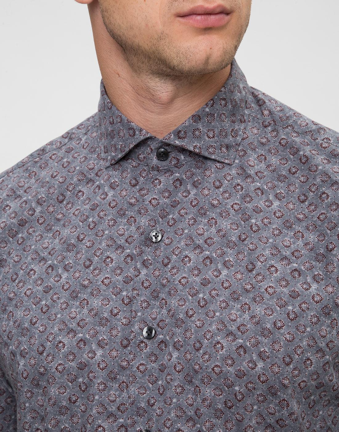Мужская серая рубашка с принтом Orian S02P258 80-6