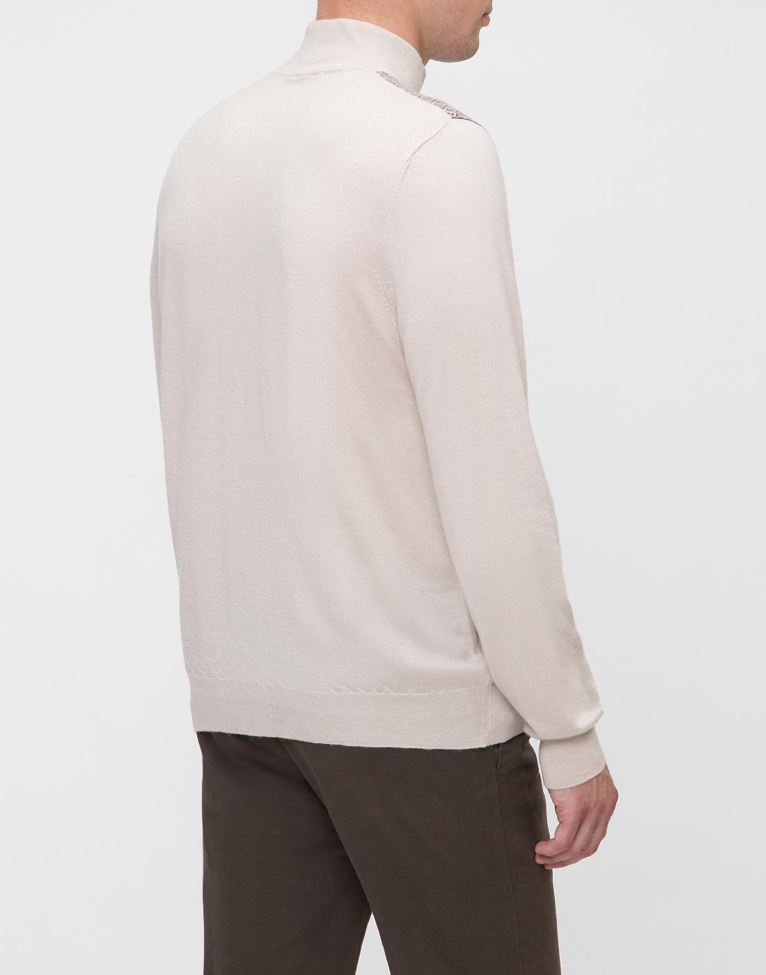 Мужской бежевый кашемировый свитер
