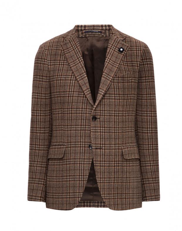 Мужской бежевый шерстяной пиджак в клетку