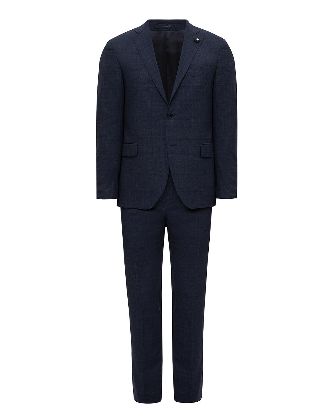 Мужской темно-синий шерстяной костюм (пиджак, брюки)