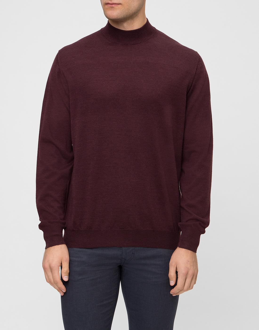Мужской бордовый шерстяной свитер Dalmine S797020 835-2