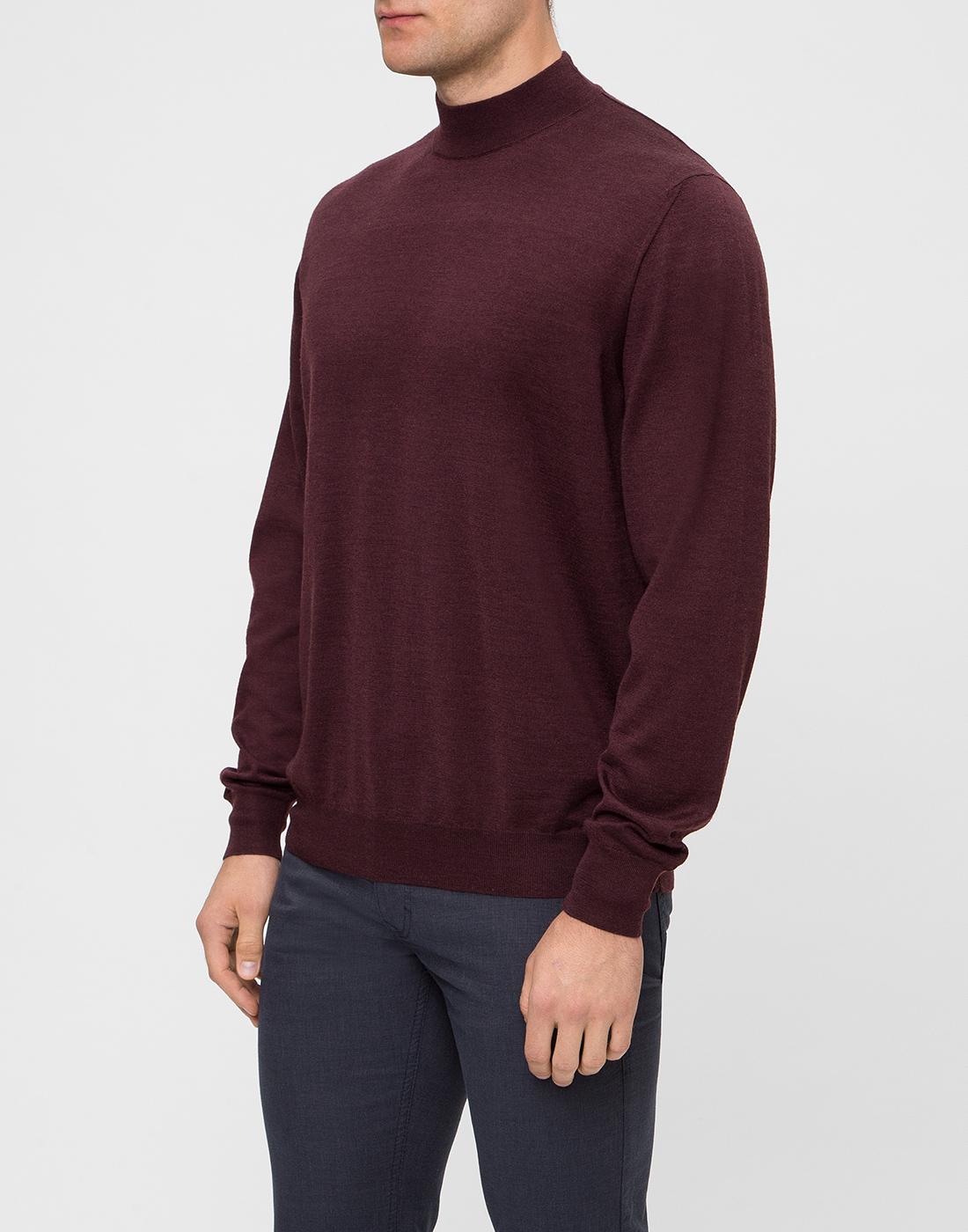 Мужской бордовый шерстяной свитер Dalmine S797020 835-3