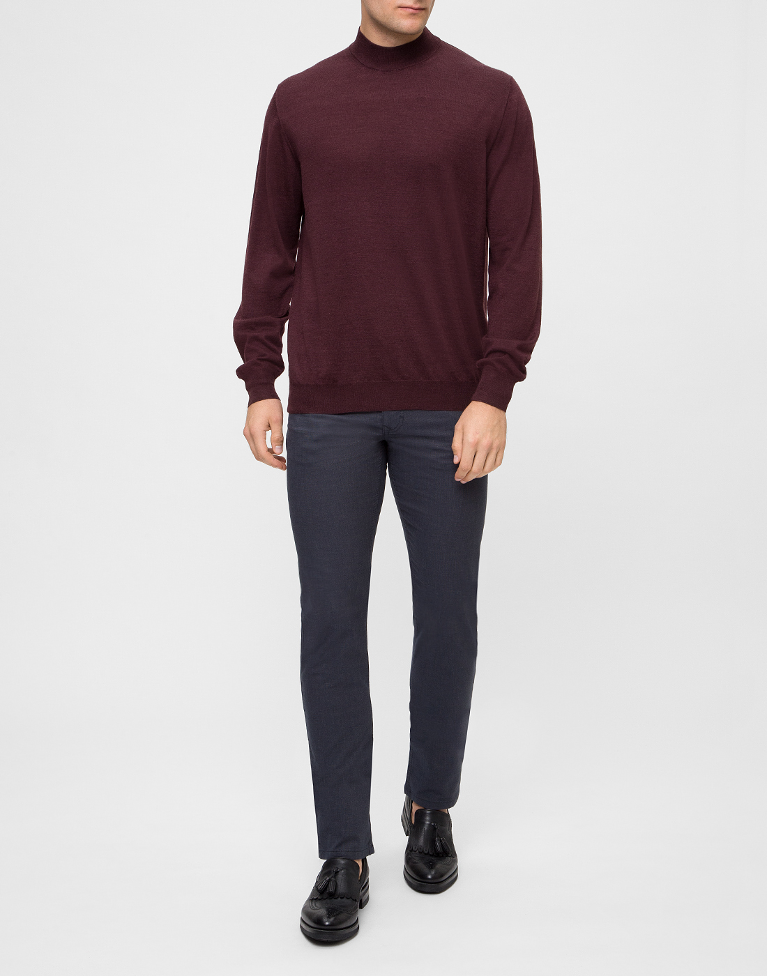 Мужской бордовый шерстяной свитер Dalmine S797020 835-5