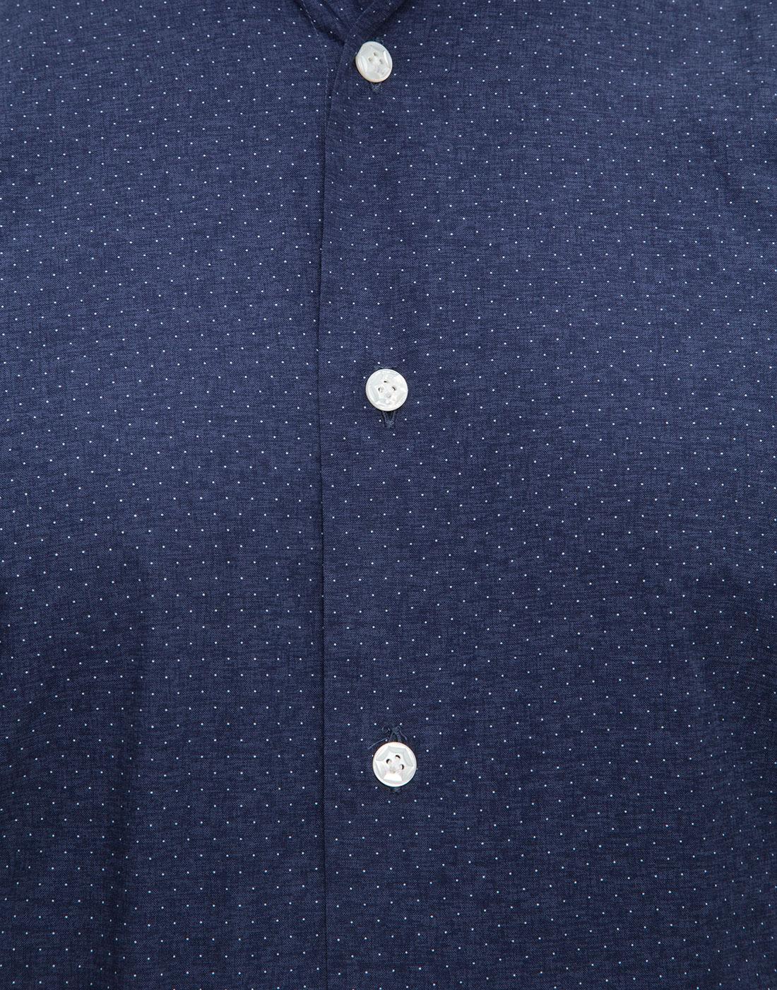 Мужская темно-синяя рубашка в горошек