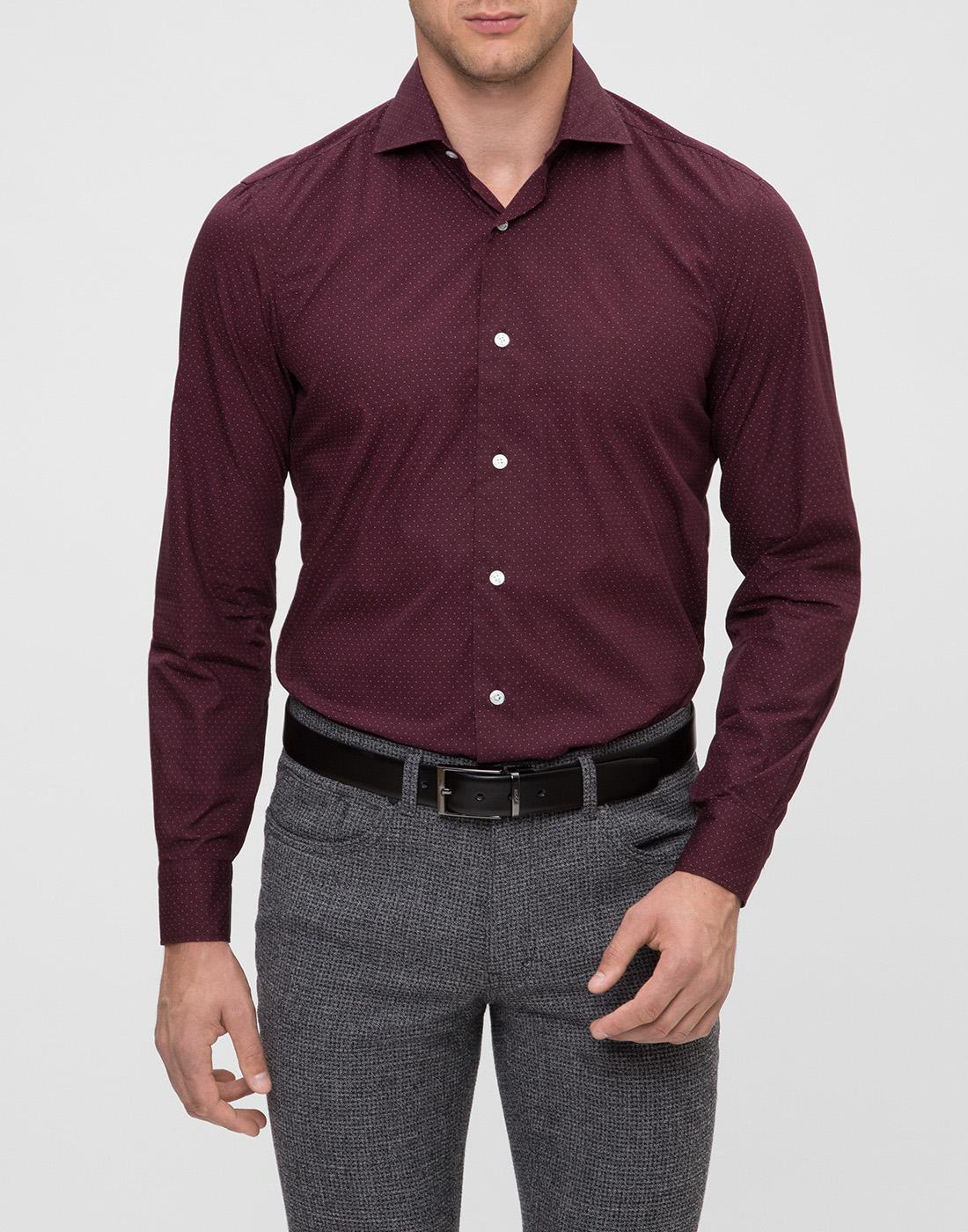 Мужская бордовая рубашка в горошек Barba S554902U-2