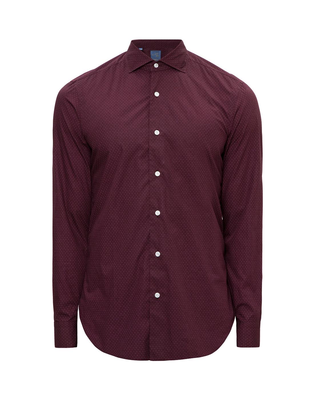 Мужская бордовая рубашка в горошек Barba S554902U-1