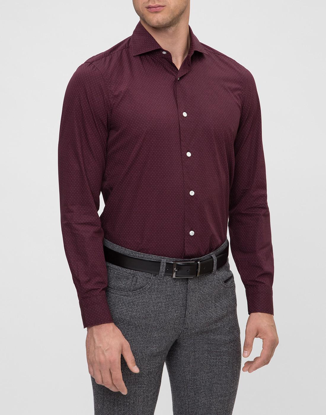 Мужская бордовая рубашка в горошек Barba S554902U-3