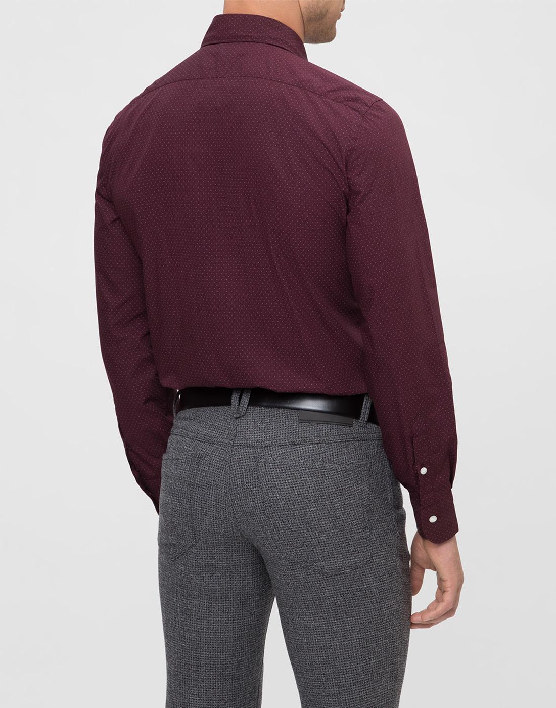 Мужская бордовая рубашка в горошек Barba S554902U-4