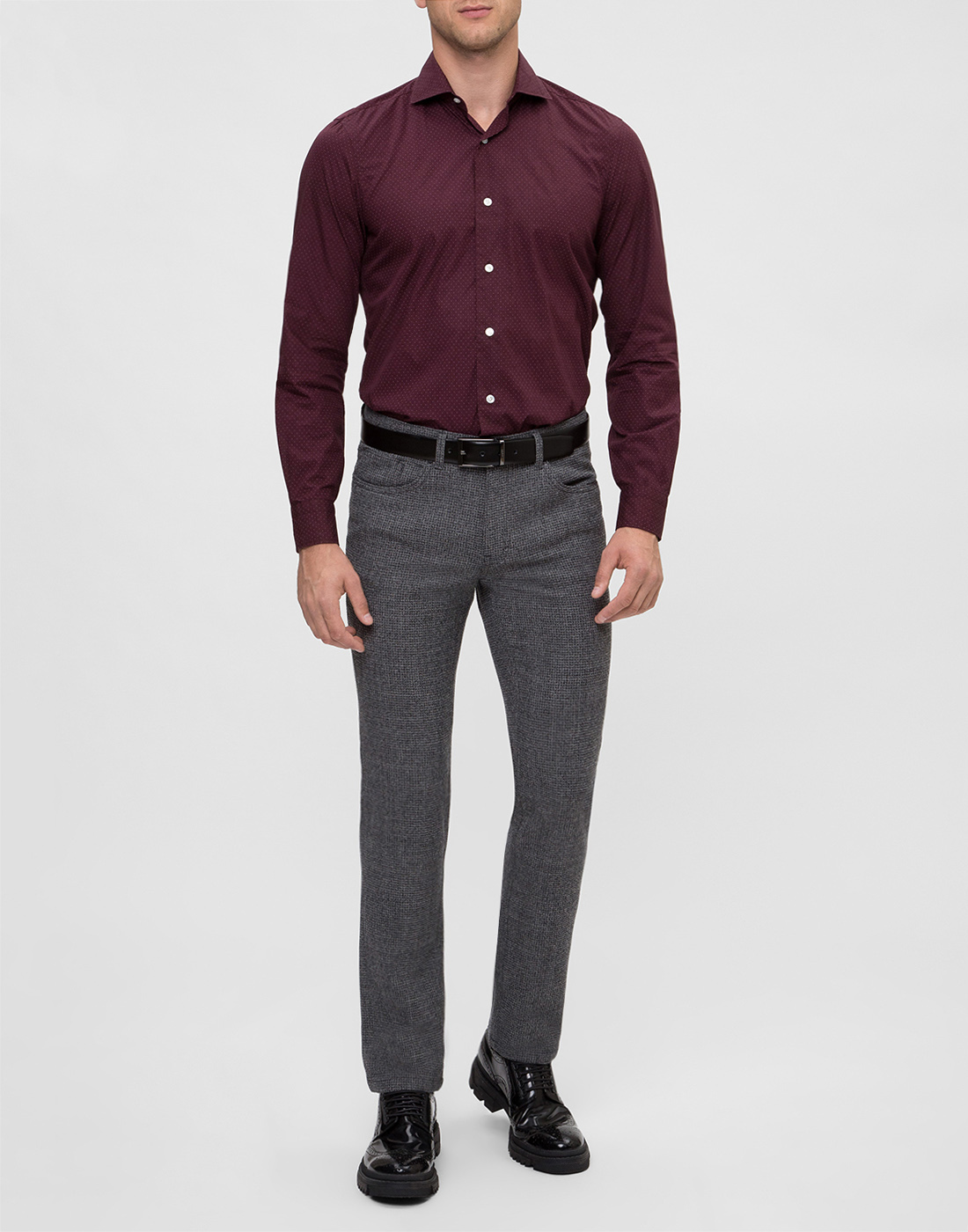 Мужская бордовая рубашка в горошек Barba S554902U-5