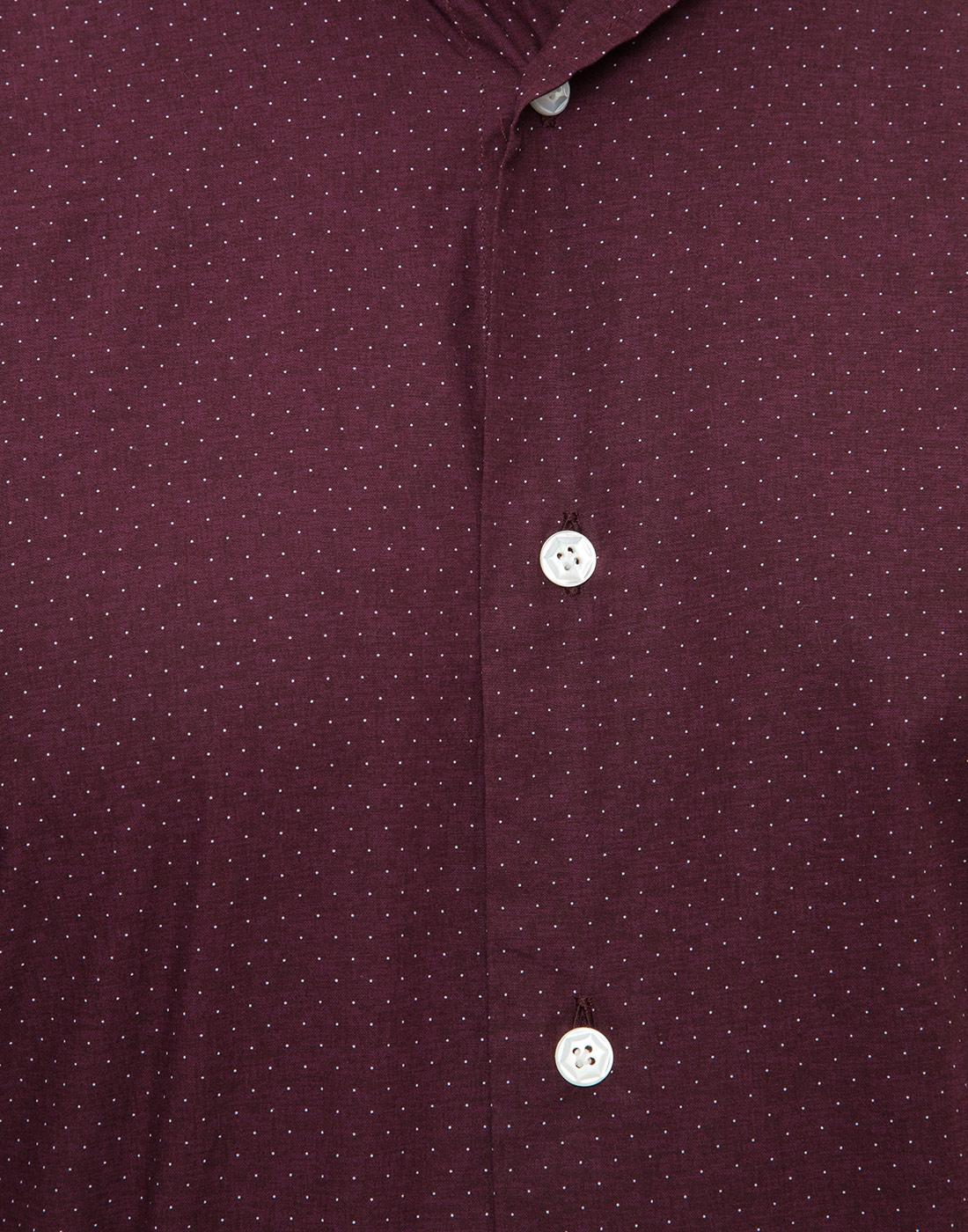 Мужская бордовая рубашка в горошек Barba S554902U-6