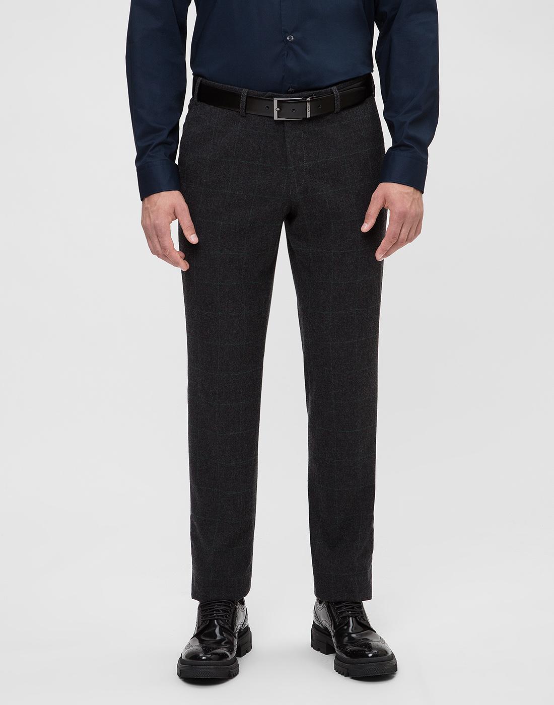 Мужские темно-серые шерстяные брюки в клетку Hiltl  S12331 11 58300-2