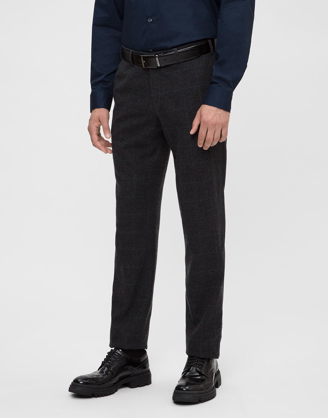 Мужские темно-серые шерстяные брюки в клетку Hiltl  S12331 11 58300-3