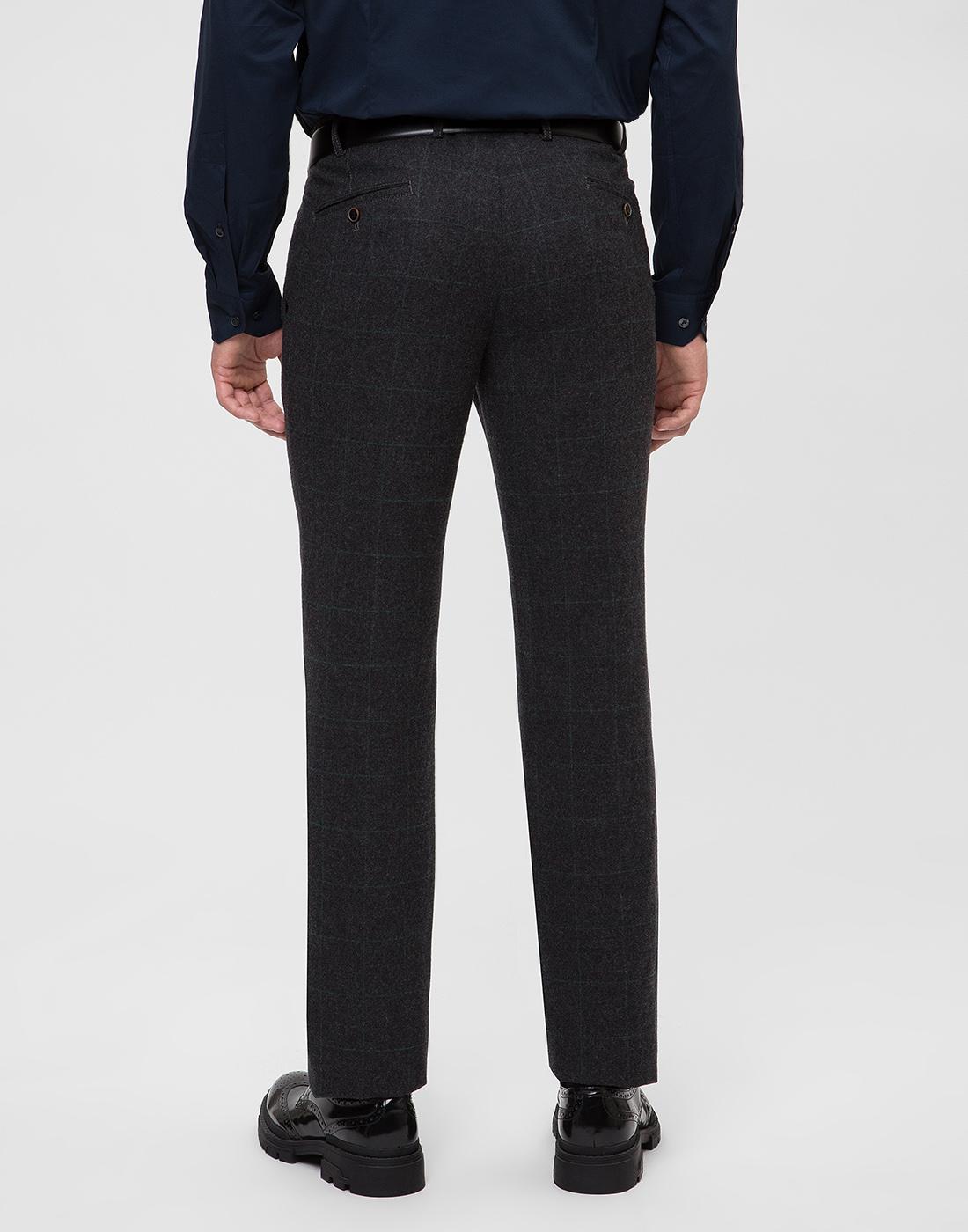 Мужские темно-серые шерстяные брюки в клетку Hiltl  S12331 11 58300-4
