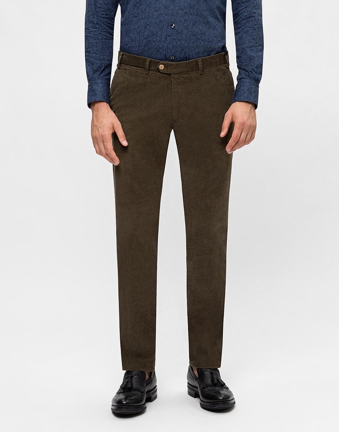 Мужские оливковые вельветовые брюки Hiltl  S72523 23 58300-2