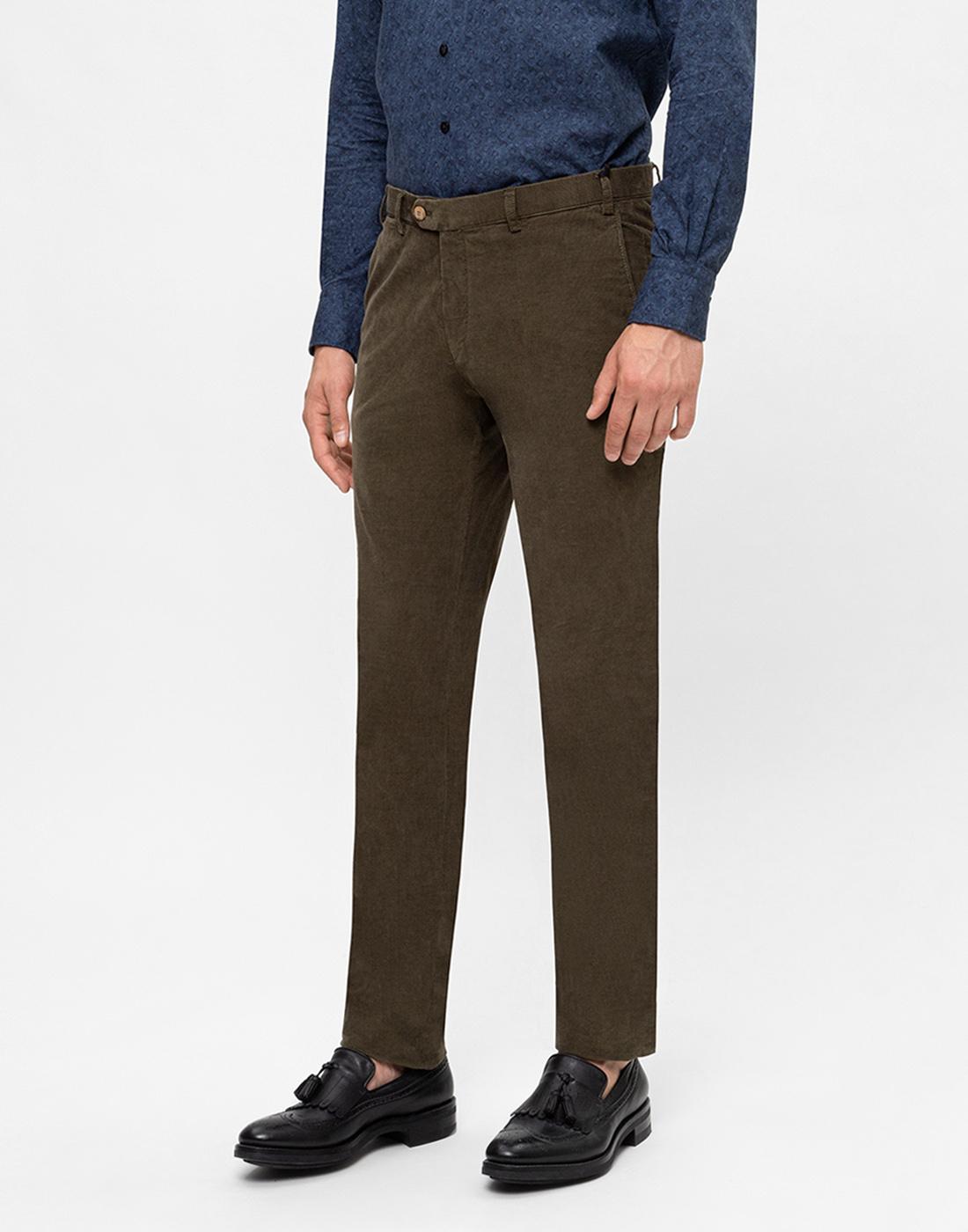 Мужские оливковые вельветовые брюки