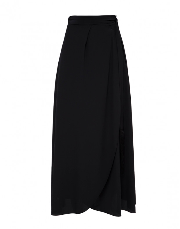 Женская черная шелковая юбка