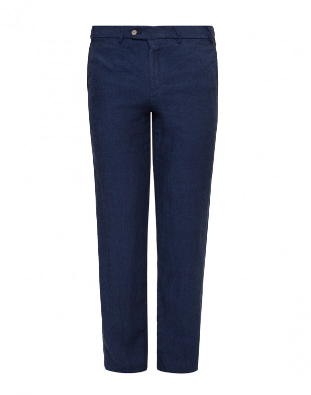 Мужские синие льняные брюки