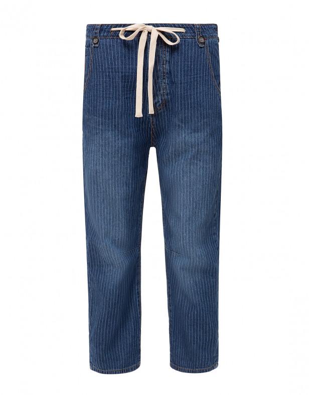 Женские синие джинсы в полоску